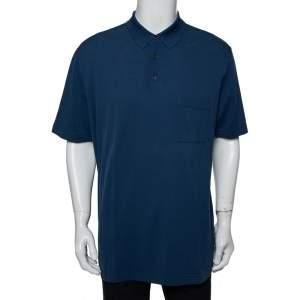 Hermes Blue Cotton Pique  Polo T-Shirt XXL