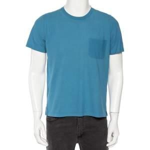 Hermès Blue Cotton Patch Pocket Detail Roundneck T-shirt M