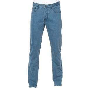 Hermes Light Blue Denim Logo Leather Tab Detail Jeans L