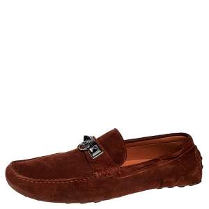 Hermes Mud Brown Suede Irving Loafers Size 43.5