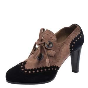 Hermes Multicolor Suede Brogue Detail Lace Up Round Toe Platform Booties Size 38