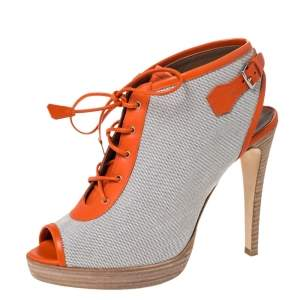 Hermes Grey Canvas And Orange Leather Trim Lace Up Peep Toe Platform Booties Size 40