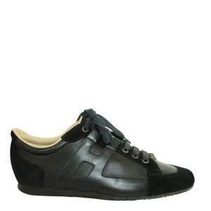 Hermes Black Suede Trimmed Low-Top Sneakers