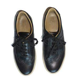 Hermes Black Leather Quick Lace Up Sneakers Size 42
