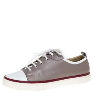 Hermes Grey/White Leather Giocco Low Top Sneakers Size 44.5