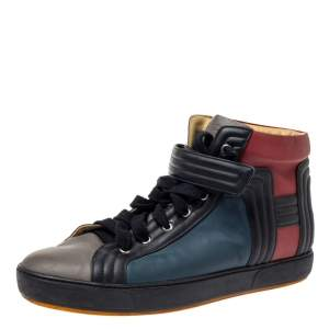 Hermes Multicolor Leather Lions High Top Sneakers Size 44