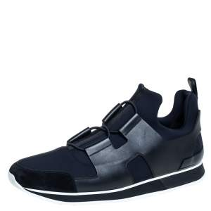 Hermes Black/Blue Leather And Fabric Player Sneakers Size 46