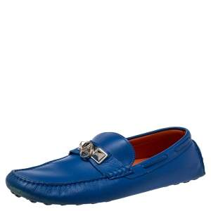 Hermés Blue Leather Slip On Loafers Size 43
