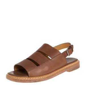 Hermes Brown Leather Flat Slingback Sandals Size 40