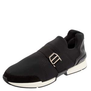 Hermés Black Neoprene and Leather Run Sneakers Size 42.5