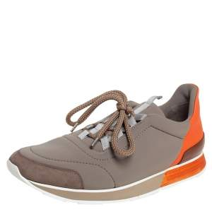 Hermés Grey/Orange Neoprene And Leather Miles Low Top Sneakers Size 44.5