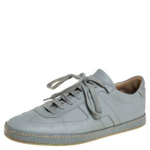 Hermes Grey Textured Leather Quicker Low Top Sneakers Size 44