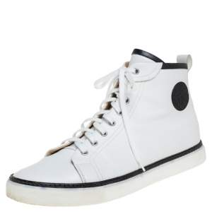 Hermes White Leather Cap Toe High Top Sneakers Size 45