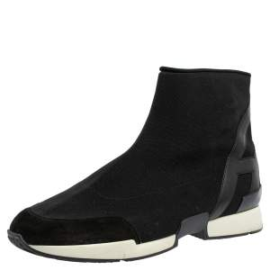 Hermes Black Knit Fabric And Leather Soft High Top Sneakers Size 43.5