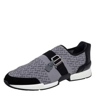 Hermes Grey/Black Fabric and Leather Run Sneakers Size 42.5