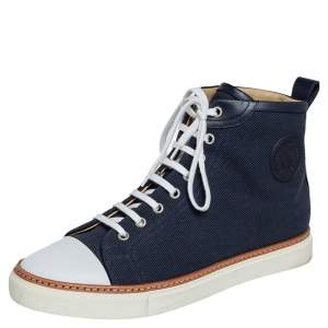 Hermes Navy Blue Canvas and Leather Jimmy High Top Sneakers Size 41.5