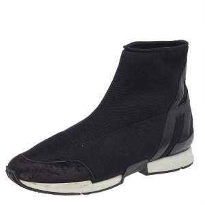 Hermes Black Knit Fabric And Leather Soft High Top Sneakers Size 40
