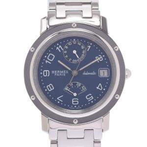 Hermes Navy Stainless Steel Clipper Power Reserve CL5.710 Men's Wristwatch 31 MM