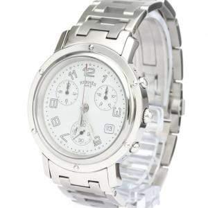 Hermes Silver Stainless Steel Clipper Chronograph Quartz CL1.910 Men's Wristwatch 38 MM