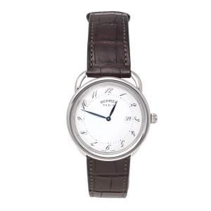ساعة يد رجالية هيرمس اركو AR5.710A  ستانلس ستيل فضية 38 مم