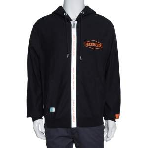 Heron Preston Black Knit Handle Zip Hoodie S