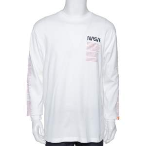 Heron Preston White Nasa Facts Print Cotton Jumper S