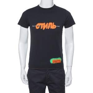 Heron Preston Black CTNMB Spray Paint Cotton Crew Neck T-Shirt XS