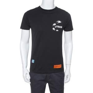 Heron Preston Black Chinese Heron Print Cotton T-Shirt XS