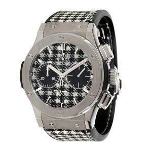 Hublot Black/White Titanium Classic Fusion Pieds de Poule 521.NX.2702.NR.ITI17 Men's Wristwatch 45 MM