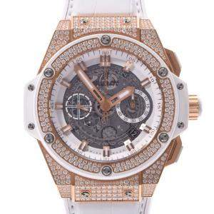 Hublot White Diamonds 18K Rose Gold King Power Unico 701.OE.0128.GR.1704 Automatic Men's Wristwatch 45 MM