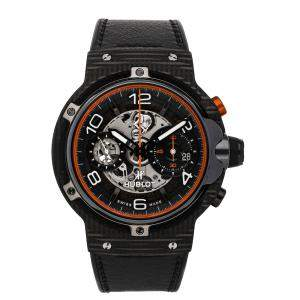 Hublot Black Carbon Fibre Ferrari GT Unico 3D Flyback Chronograph Limited Edition 526.QB.0124.VR Men's Wristwatch 45 MM