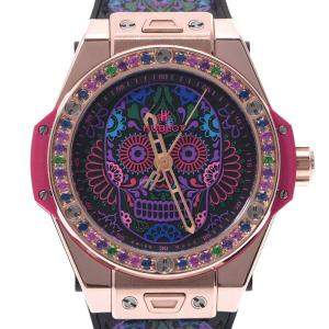 Hublot Multicolor Sapphire 18K Yellow Gold Big Bang One-Click Calavera 465.OX.1190.VR.1299.Mex18 Automatic Men's Wristwatch 42 MM
