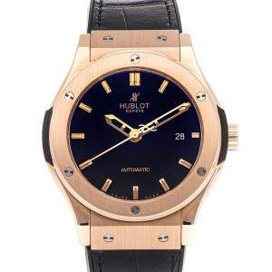 Hublot Black 18K Rose Gold Classic Fusion 542.OX.1180.LR Men's Wristwatch 42 MM