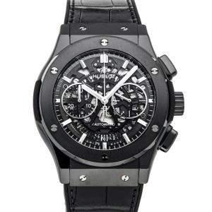 """ساعة يد رجالية هوبلو """"كلاسيك فوجين ايروفوجين بلاك ماجيك 525.سي إم.0170.أل أر"""" سيراميك أسود 45 مم"""