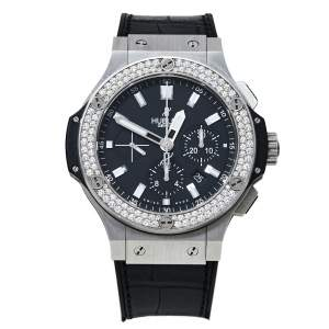 Hublot Black Stainless Steel Diamonds Big Bang Chronograph Men's Wristwatch 44MM