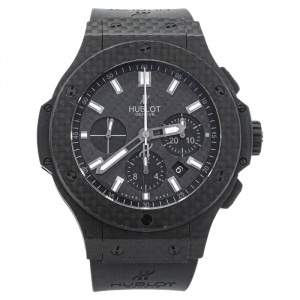 Hublot Black Carbon Fibre & Rubber Big Bang Chronograph Men's Wristwatch 44 MM