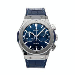 Hublot Blue Titanium Classic Fusion Chronograph 521.NX.7170.LR Men's Wristwatch 45 MM