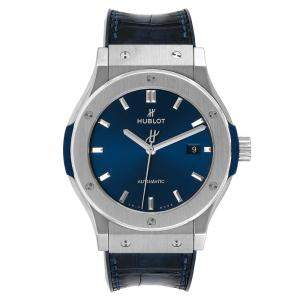 Hublot Blue Titanium Classic Fusion 542.NX.7170.LR Men's Wristwatch 42 MM
