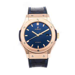 Hublot Blue 18K Rose Gold Classic Fusion 542.OX.7180.LR Men's Wristwatch 42 MM