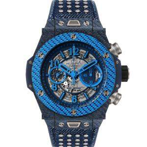 Hublot Blue Texalium Carbon Fiber Big Bang Unico Carbon Chronograph 411.YL Men's Wristwatch 45 MM