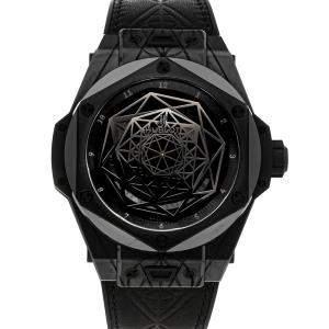 Hublot Black Ceramic Big Bang Unico Sang Bleu All Black Limited Edition 415.CX.1114.VR.MXM17 Men's Wristwatch 45 MM