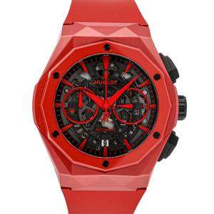 Hublot Red Ceramic Classic Fusion Aerofusion Chronograph Richard Orlinski Limited Edition 525.CF.0130.RX.ORL19 Men's Wristwatch 45 MM