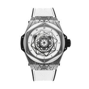 Hublot Silver Titanium Big Bang Unico Sang Bleu Limited Edition 415.NX.2027.VR.MXM18 Men's Wristwatch 45 MM