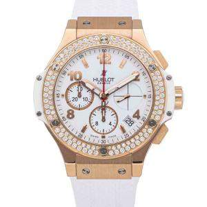Hublot White Diamonds 18K Rose Gold Big Bang Chronograph Porto Cervo 341.PE.230.RW.114 Men's Wristwatch 41 MM