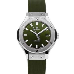 Hublot Green Titanium Classic Fusion 565.NX.8970.LR Men's Wristwatch 38 MM