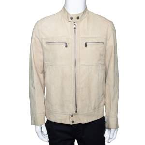 Boss By Hugo Boss Beige Suede Zip Front Calen Jacket XL