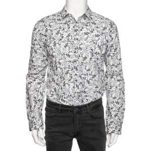 قميص هوغو باي هوغو بوس قطن بطبعة تجريدية بأزرار أمامية وقصة ضيقة مقاس متوسط - ميديوم