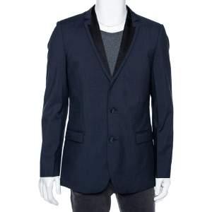 Hugo Boss Blue Wool Contrast Lapel Trim Single Breasted Aderik/Heise Blazer L