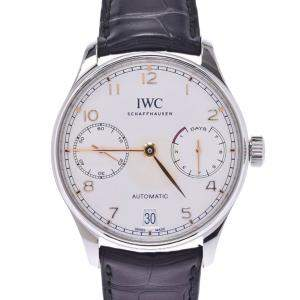 IWC Silver Stainless Steel Portugieser Automatic IW500704 Men's Wristwatch 42 MM