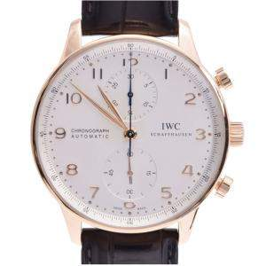 IWC White 18k Rose Gold Portugieser Automatic Chronograph IW371480 Men's Wristwatch 41 MM